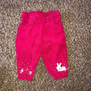 Red bunny corduroy pants